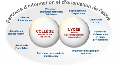 Schéma récapitulant différents éléments concourant à la construction par l'élève de son parcours d'information et d'orientation.