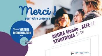 """Beau succès du premier salon virtuel d'orientation organisé par l'AEFE, AGORA MONDE et Studyrama, sur le thème """"Étudier en France"""""""