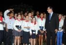 Le président de la République rencontre des élèves du lycée français de Kinshasa lors du Sommet de la Francophonie