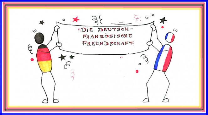 Die Deutsch-Französische Freundschaft (L'amitié franco-allemande) : dessin d'un élève de CE2 du Lycée français de Düsseldorf