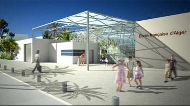 La façade de l'école française d'Alger : maquette d'architecture.