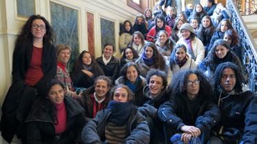 La délégation du lycée franco-costaricien dans un escalier de l'École des Mines